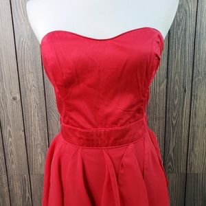 French Connection Dresses - French Connection Pink Strapless Ruffle Sweatheart